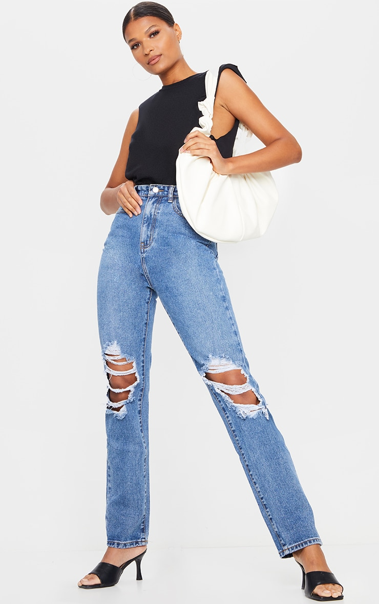 Mid Blue Wash Ripped Knee Long Leg Straight Jeans 1