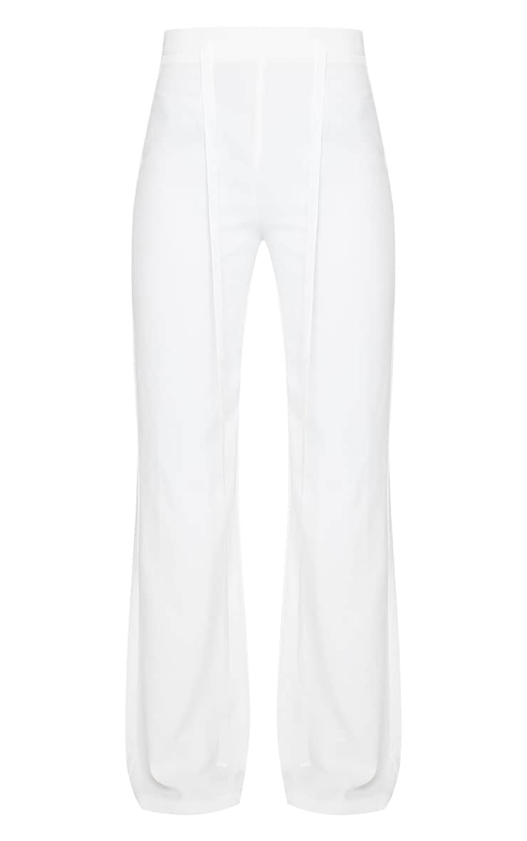 White Woven High Waist Satin Tie Detail Flared Pants 5