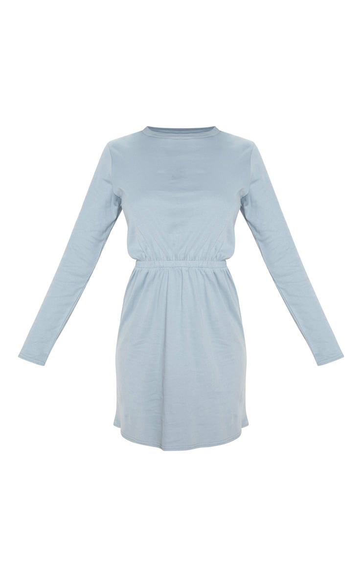 Lead Grey Elasticated Waist Long Sleeve T Shirt Dress 3