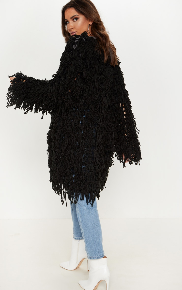 Aslina Black Shaggy Knit 3/4 Length Cardigan 2