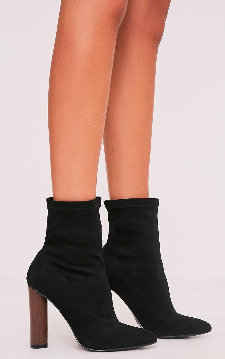 Celisa Black Faux Suede Sock Ankle Boots 3