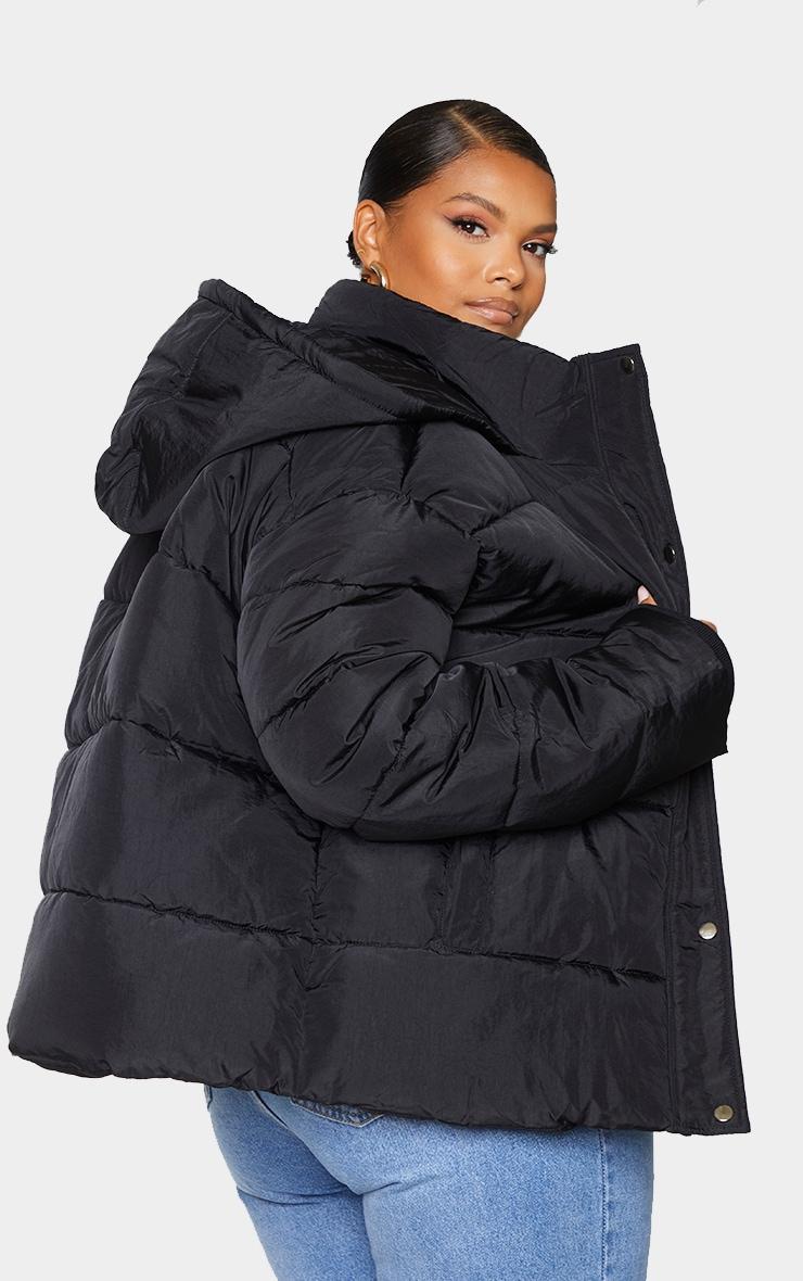 Plus Black Peach Skin Hooded Puffer Jacket 2