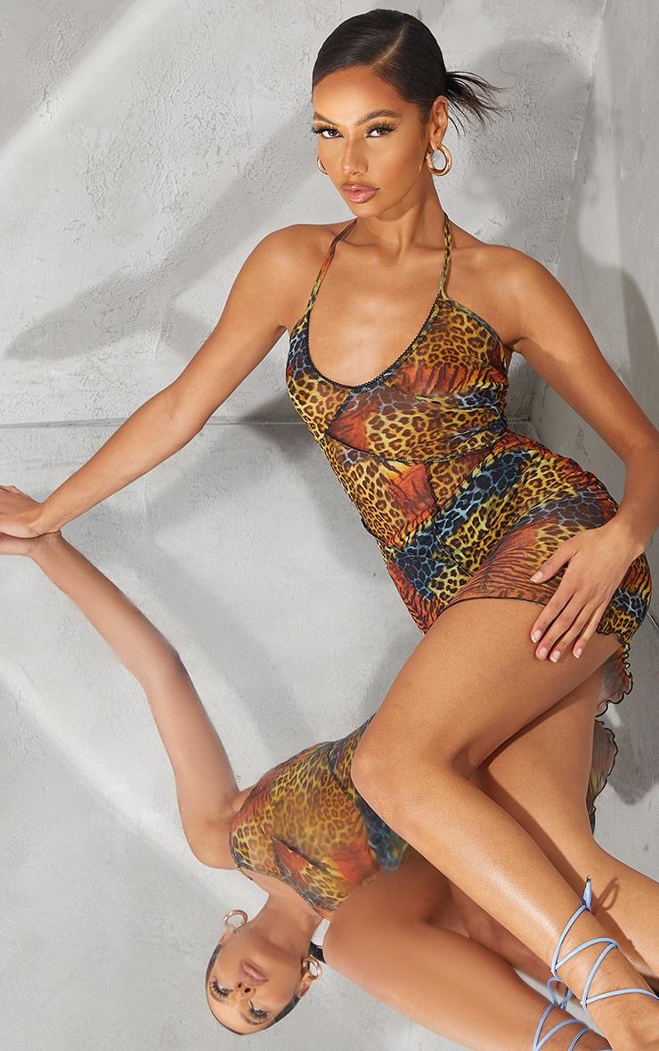 Multi Leopard Print Sheer Mesh Overlock Stitch Halterneck Bodycon Dress 2