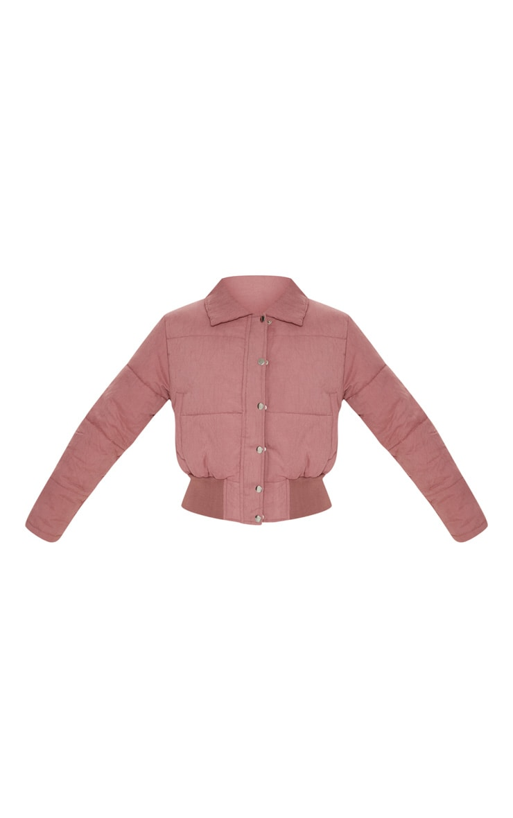 Pink Peach Skin Cropped Puffer Jacket 3