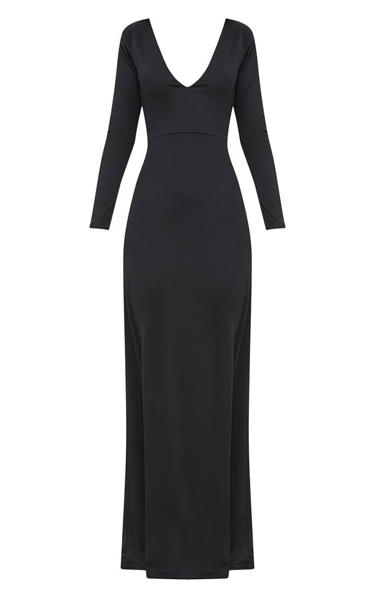 Black Backless Plunge Long Sleeve Maxi Dress  3