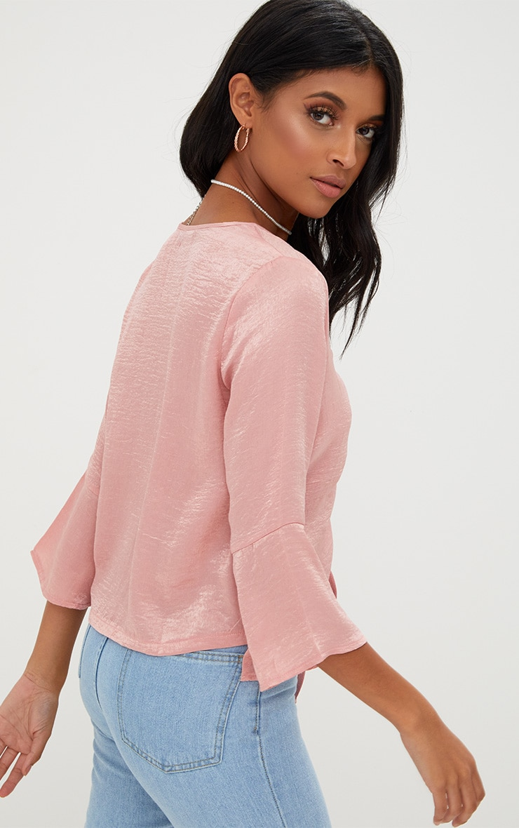 Pink Ruched Front Frill Sleeve Satin Top  2