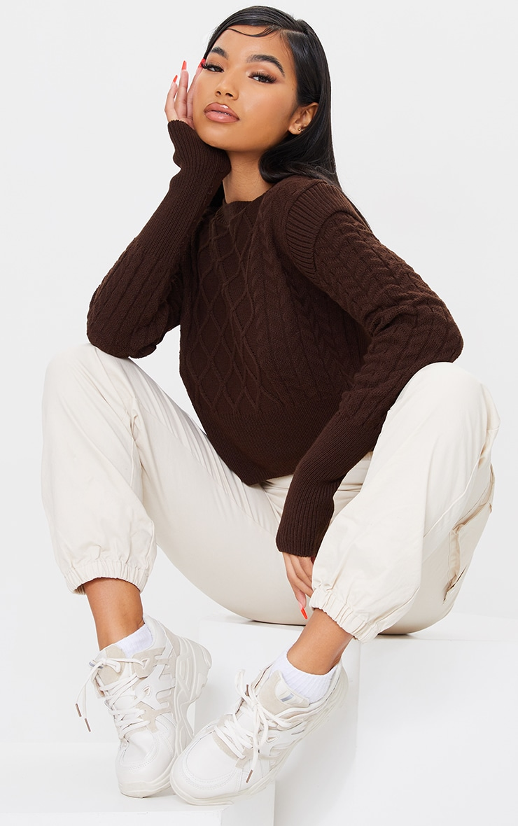 Chocolate Shoulder Detail Cable Knitted Jumper 3