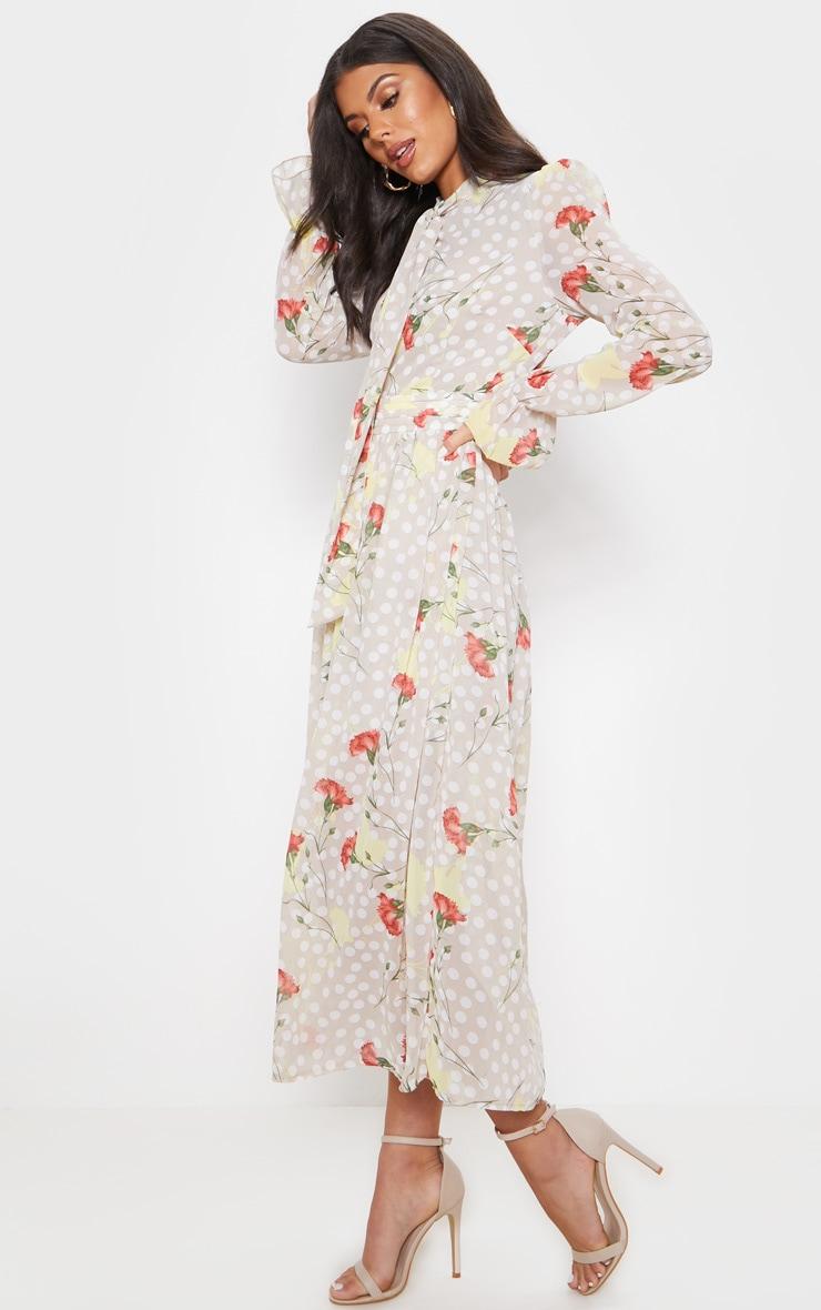 Cream Polka Dot Floral Chiffon Neck Tie Skater Midi Dress 4