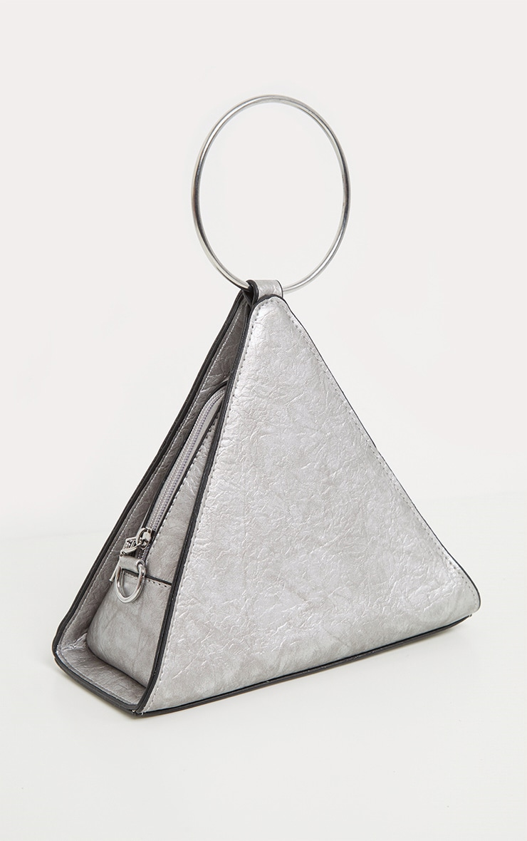 Silver PU Pyramid Metal Handle Grab Bag 1
