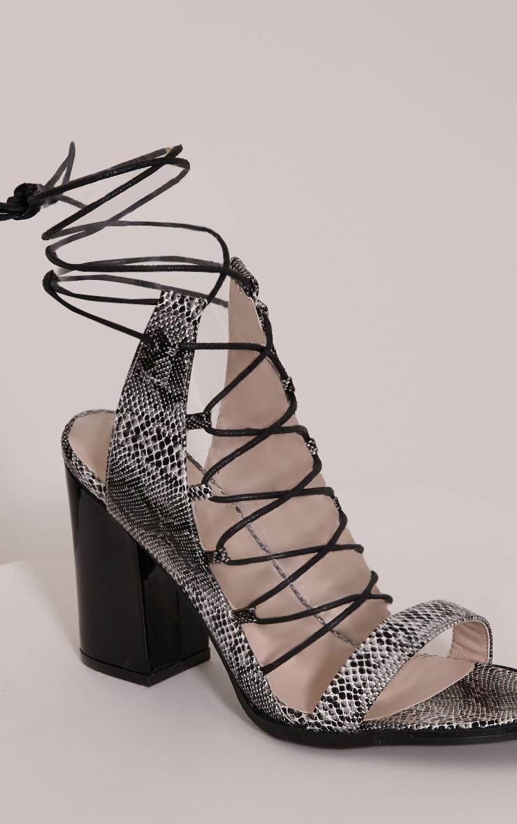 Lisa Grey Snakeprint Lace Up Heeled Sandals 5