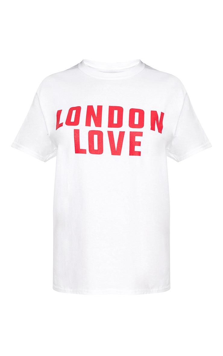 London Love Slogan White T Shirt 3