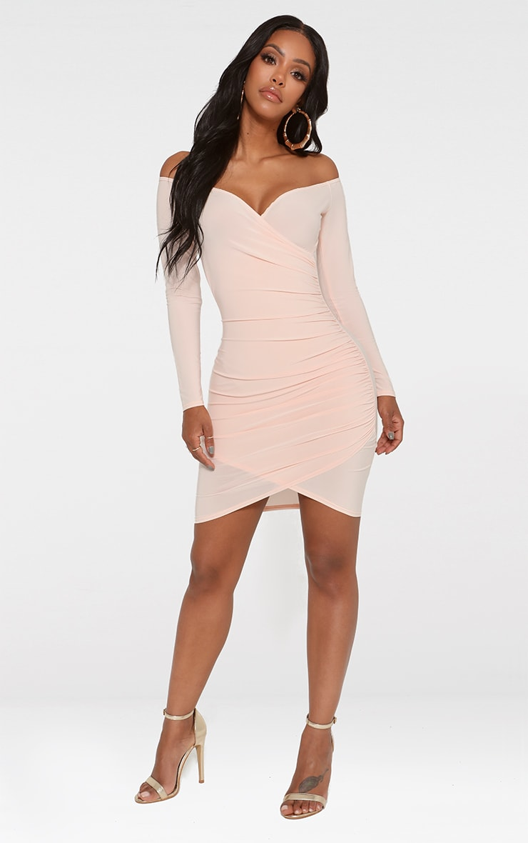 Shape Nude Slinky Ruched Detail Bardot Dress  3