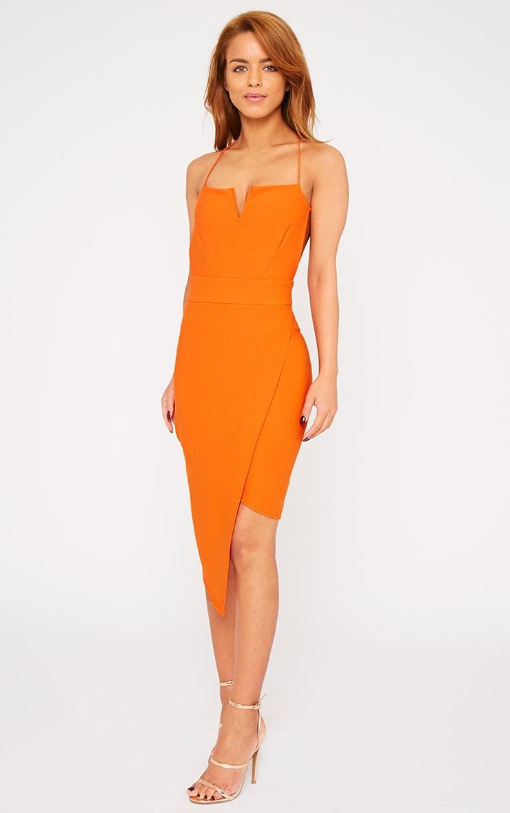 Raye Orange Cross Back Asymmetric Dress 3