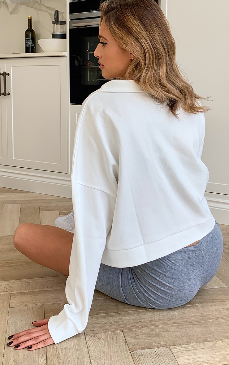 PRETTYLITTLETHING White Embossed Sports Collared Sweat Top 2