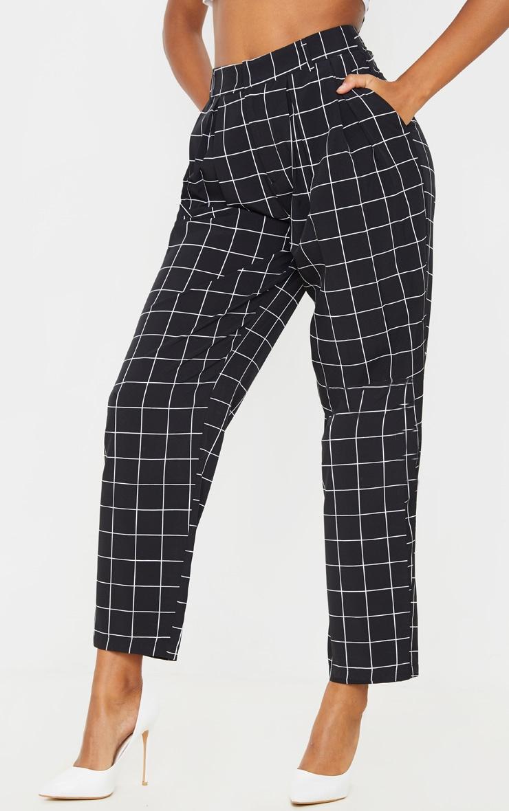 Black Checked Woven High Waisted Balloon Leg Pants  2