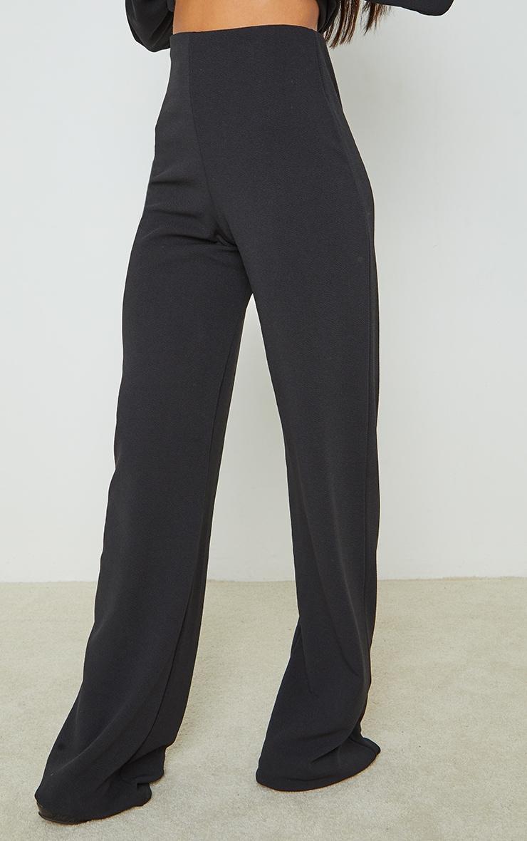 Black Crepe Seam Front Wide Leg Pants 2