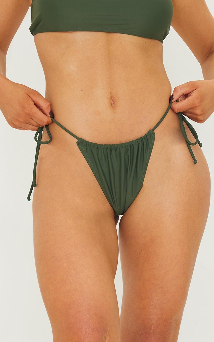 Khaki Ruched Tie Side Bikini Bottom 4