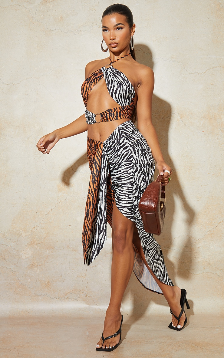 Jupe mi-longue portefeuille multicolore imprimé tigre à côté noué 1