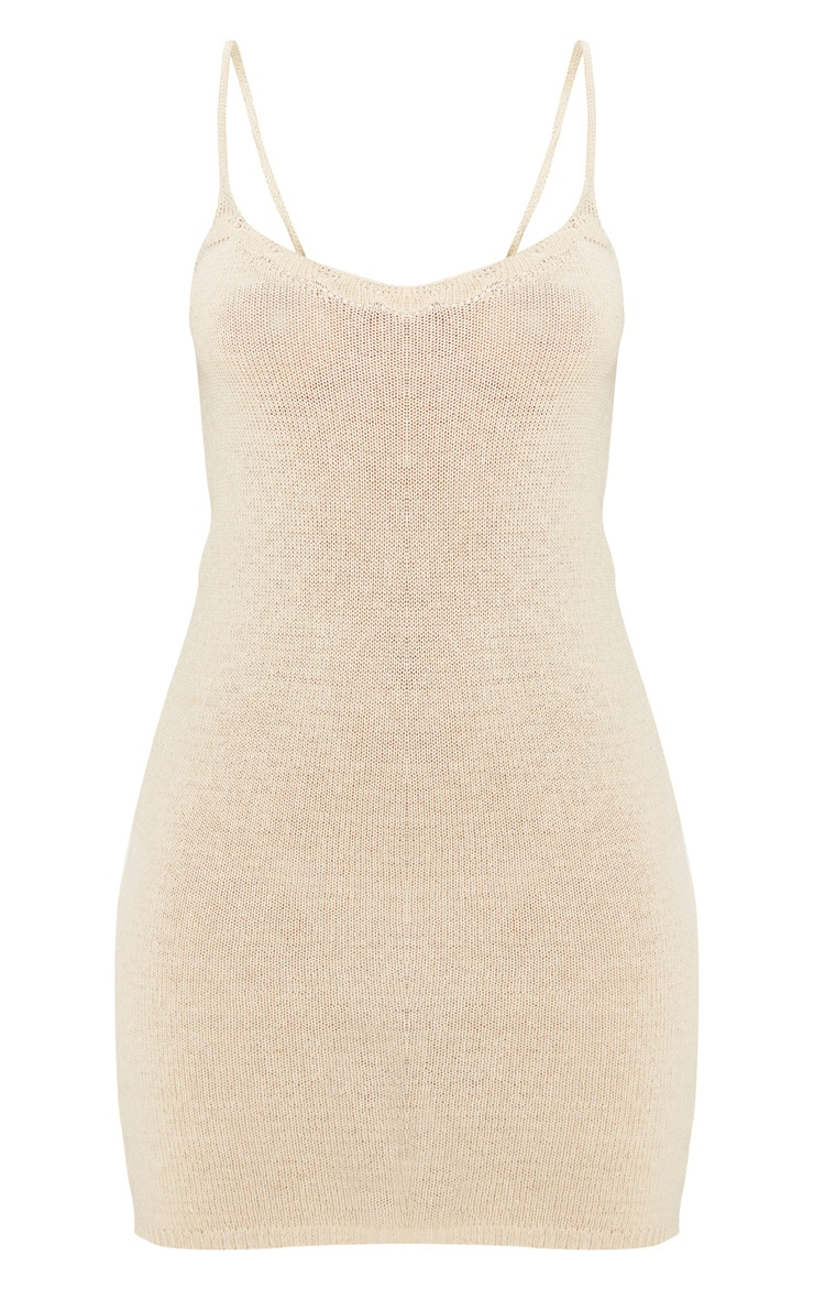 Camel Knitted Strappy Dress 2
