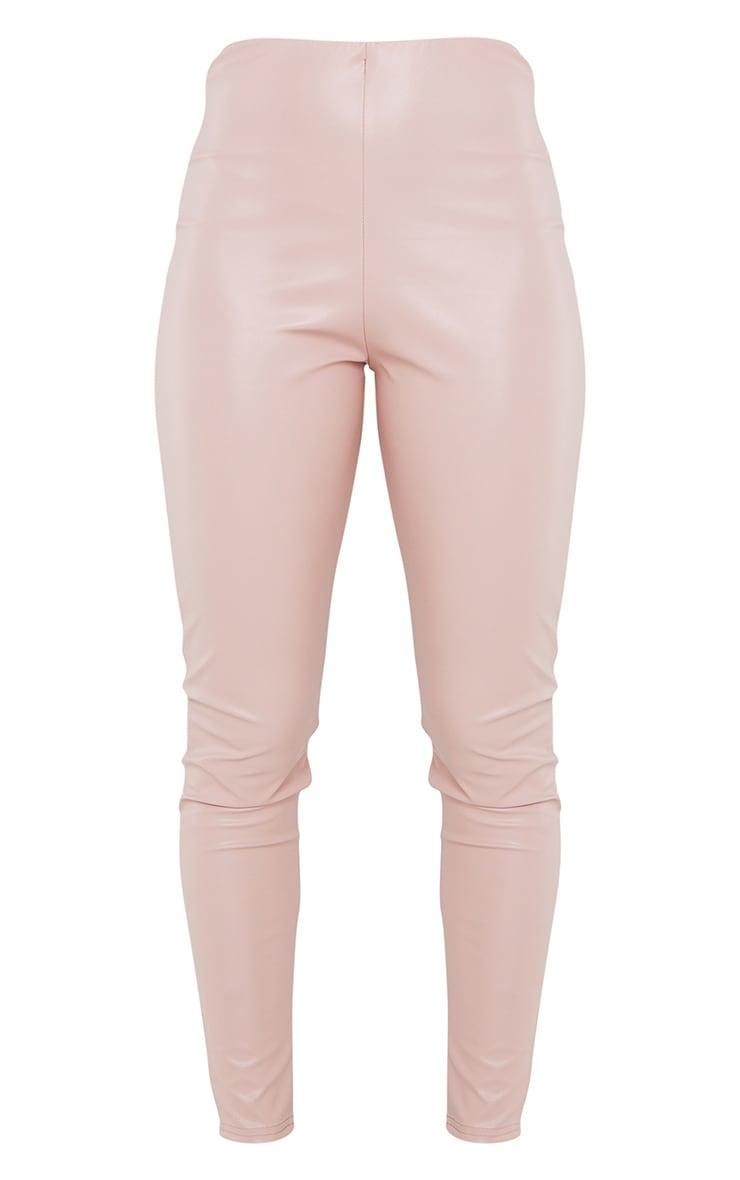 Pink Basic Faux Leather High Waist Leggings 5
