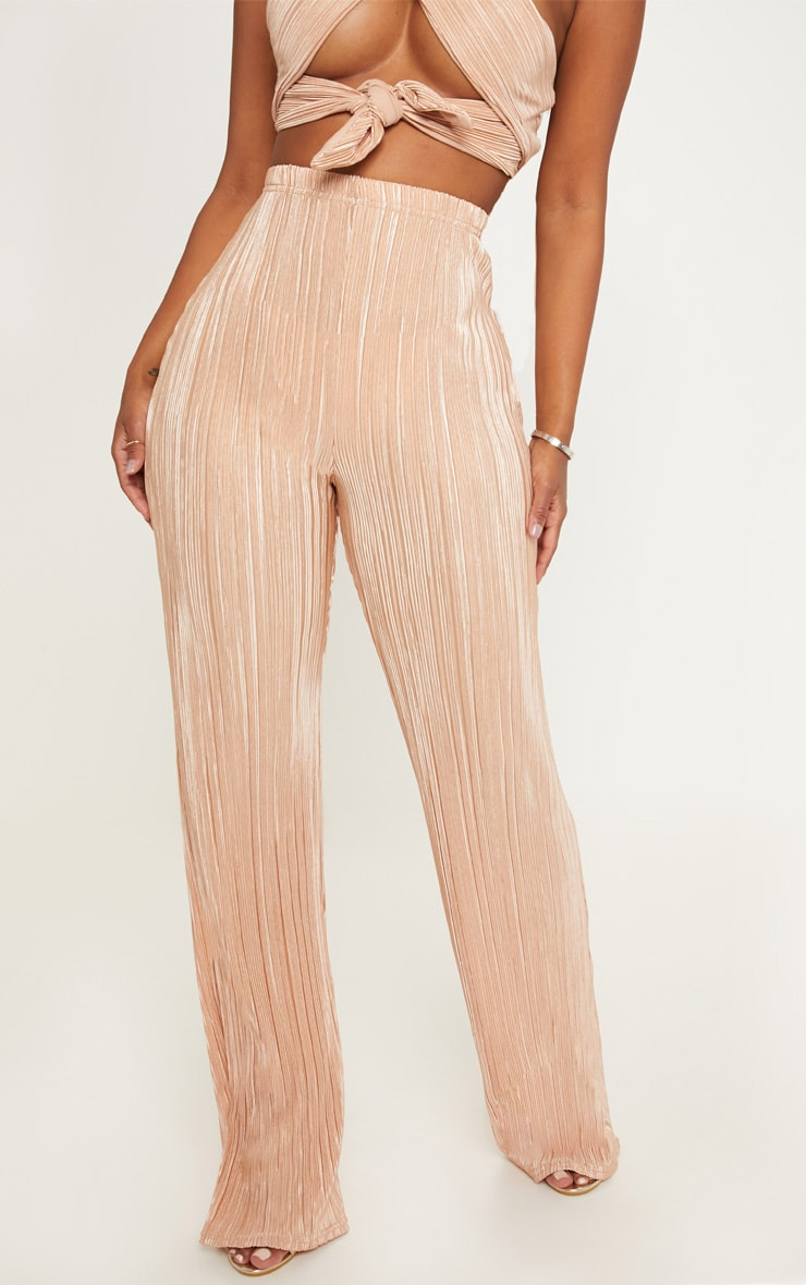 Shape Gold Pleated Metallic Wide Leg Trouser 2