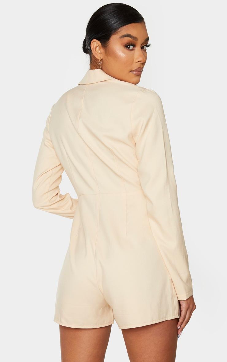 Combishort blazer nude drapé à détail liserés 2