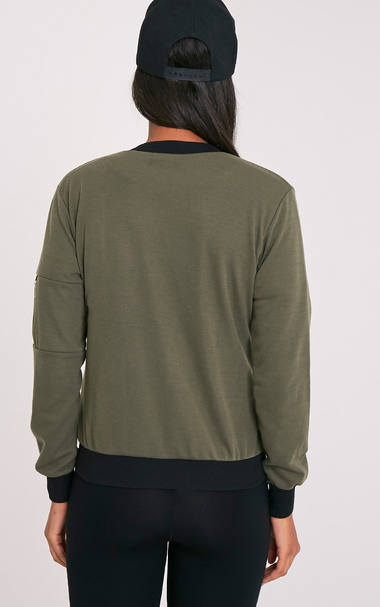 Joella Khaki Jersey Badge Detail Bomber Jacket 2