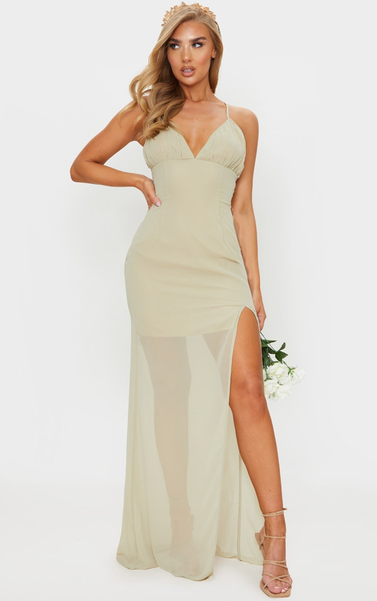 Soft Olive Strappy Lace Up Back Maxi Dress 3