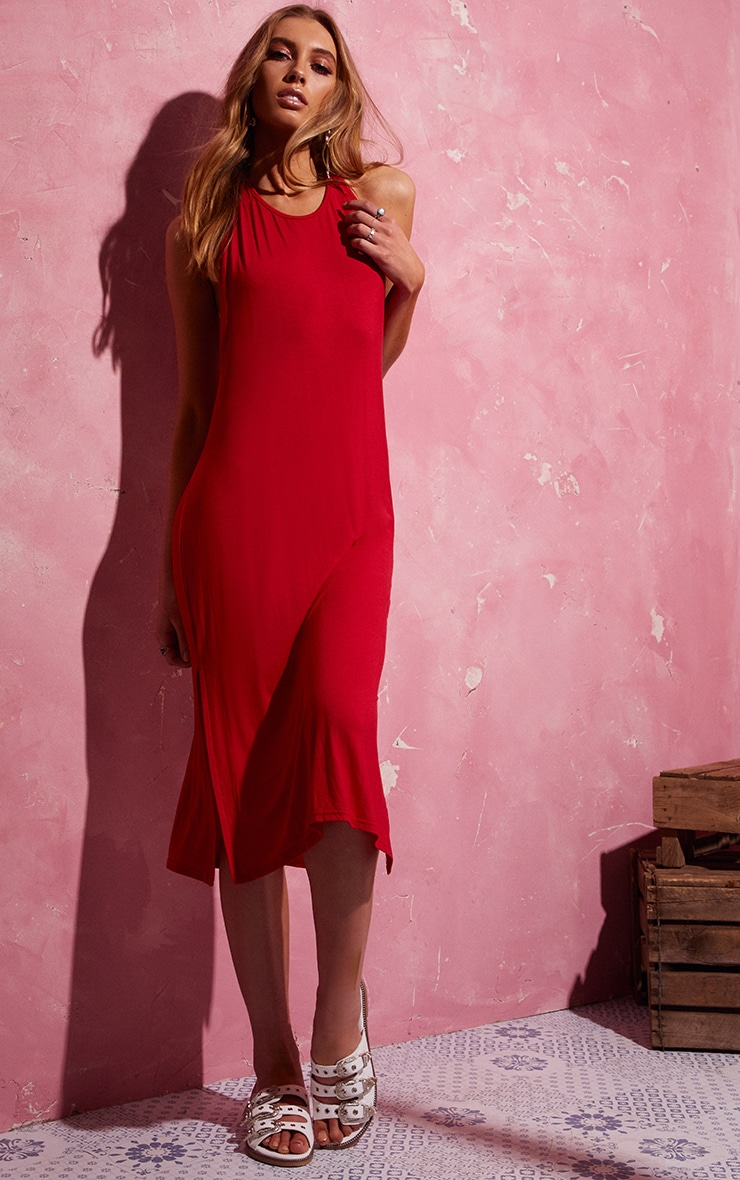 Red Backless Strappy Midi Dress 3