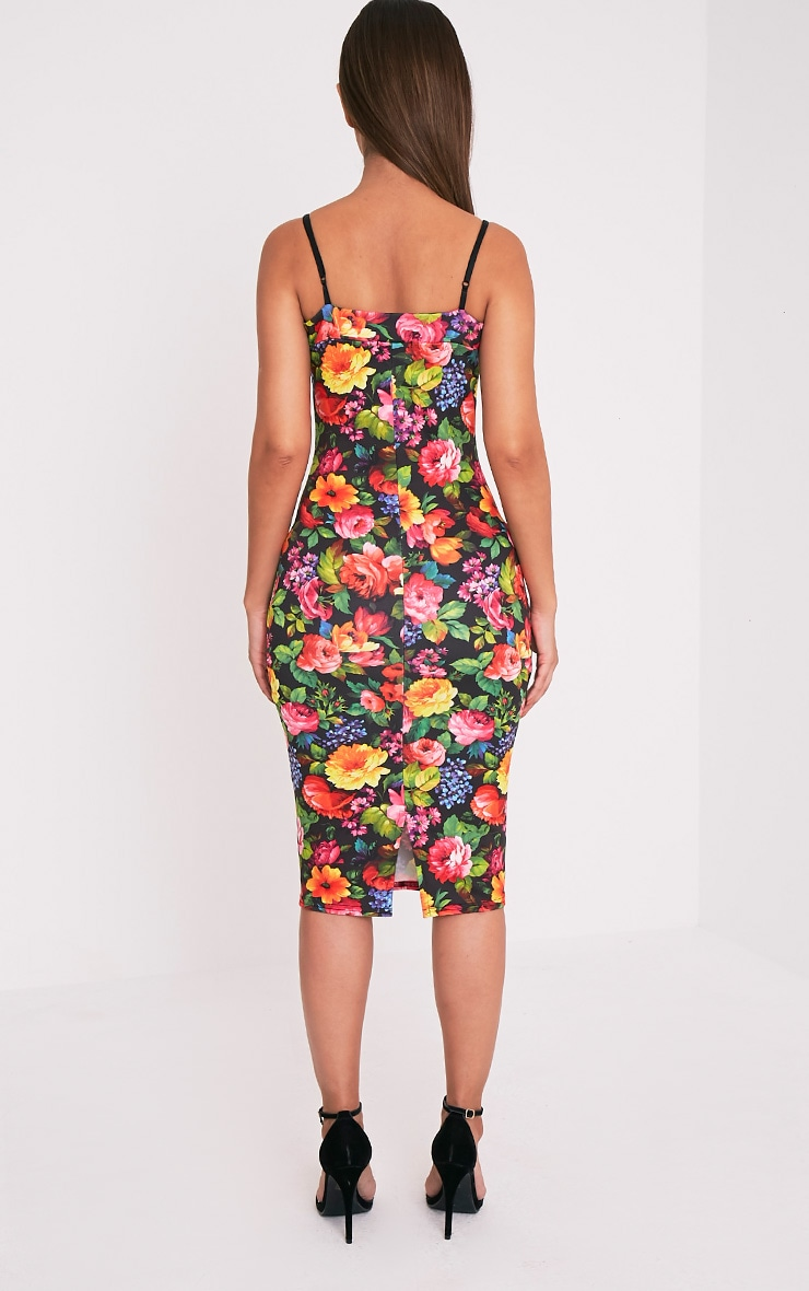 Dinah Black Floral Strappy Midi Dress 2