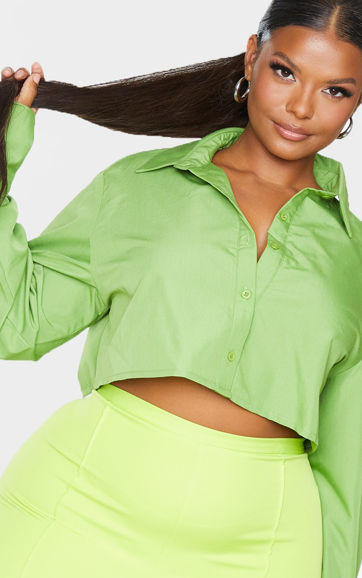 Plus Bright Green Cotton Oversized Crop Shirt 4