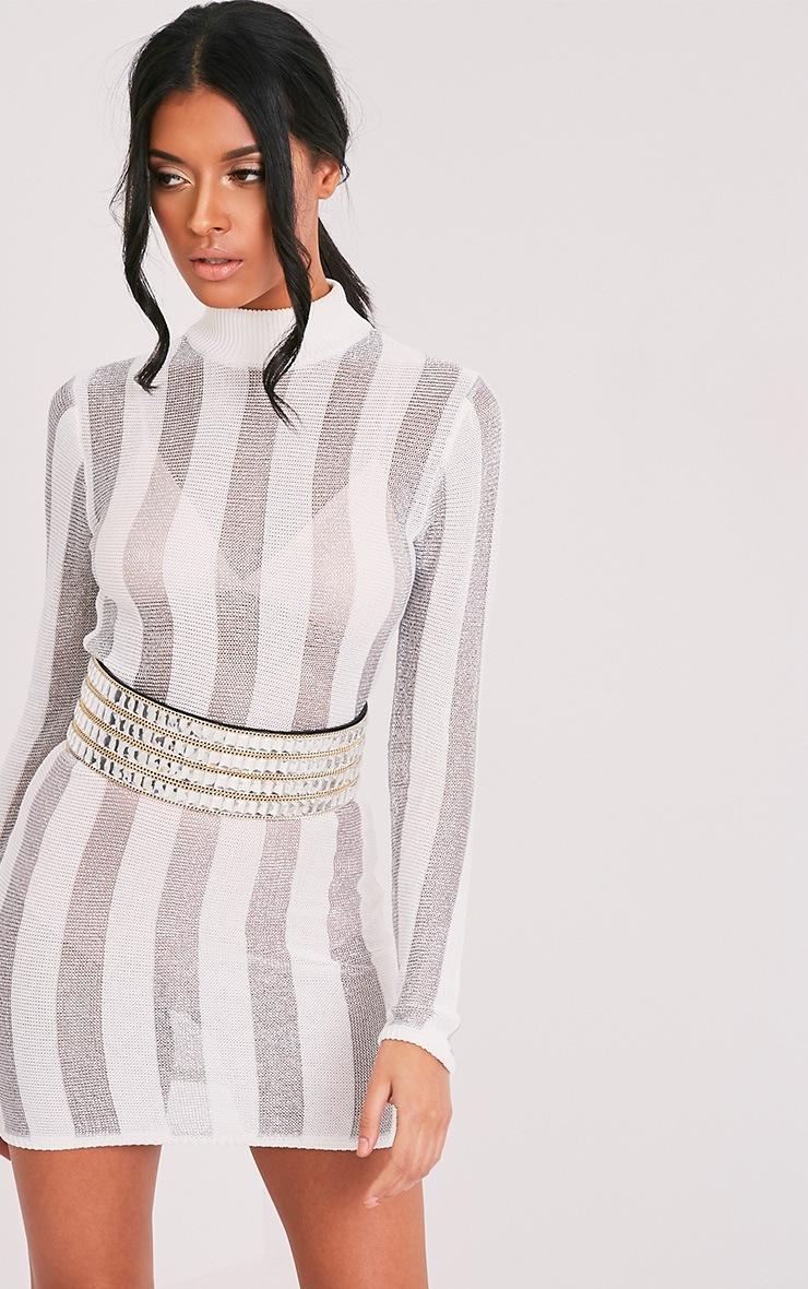 Amias robe mini blanc métallisé extra-fine à rayures 4