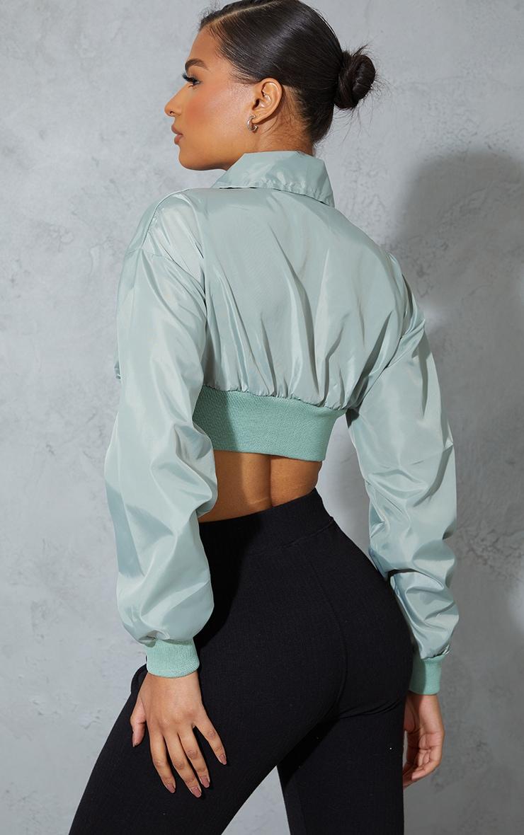 Sage Green Nylon Cropped Zip Up Tracksuit Jacket 2