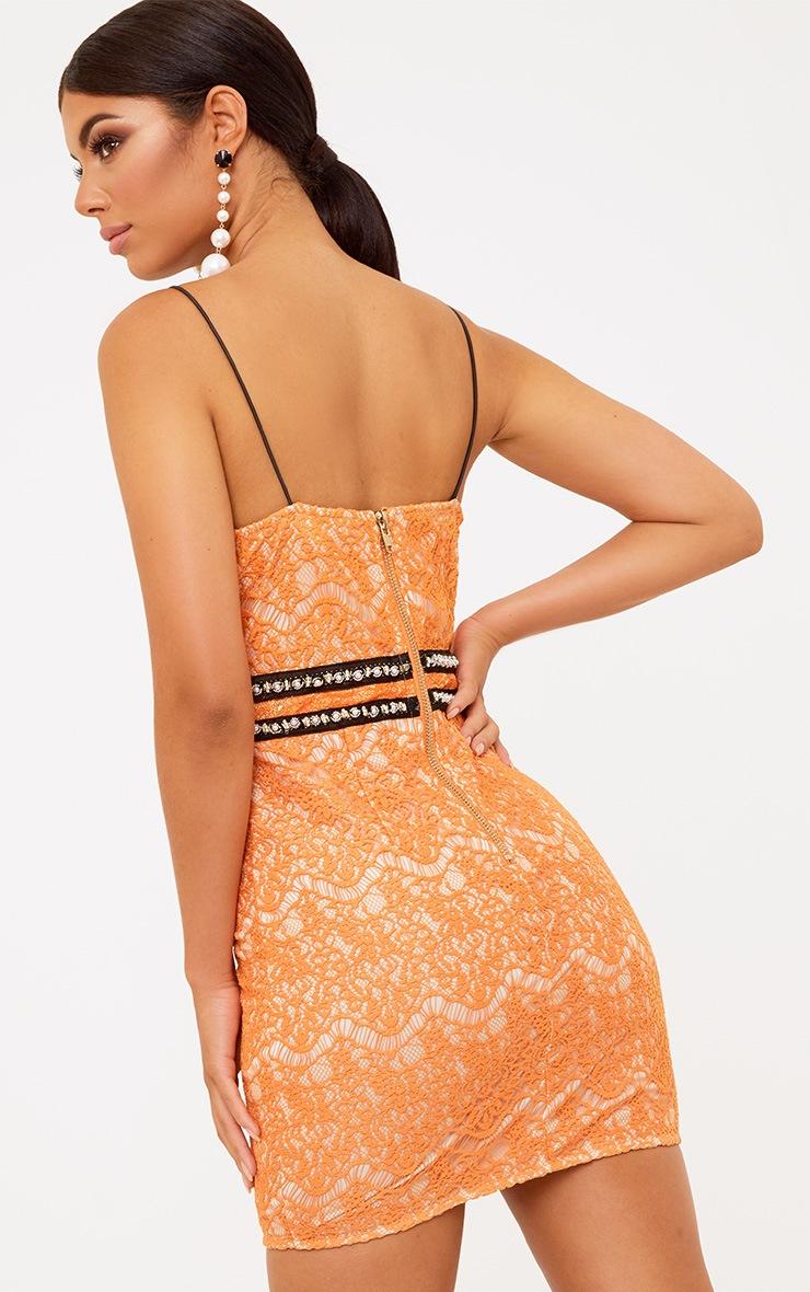 Premium Orange Hook and Eye Bodycon Dress 3