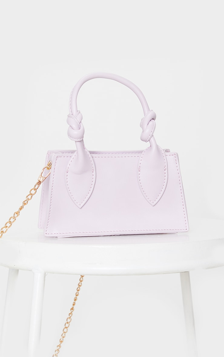 Lilac PU Knotted Single Handle Cross Body Bag 3