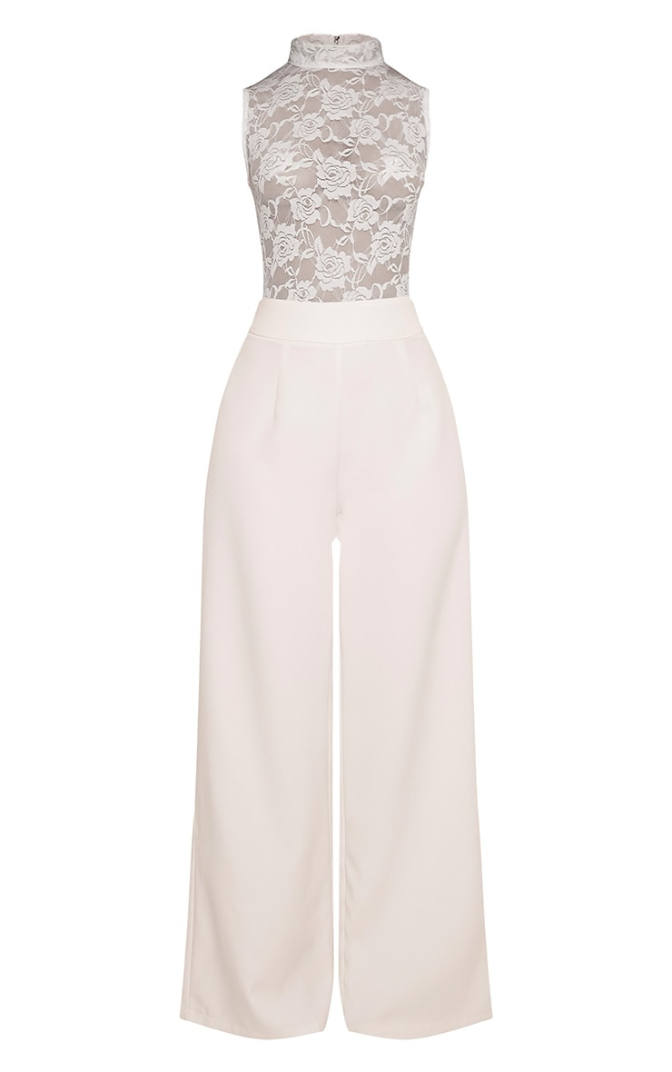 Miley White Sleeveless Lace Top Jumpsuit 3