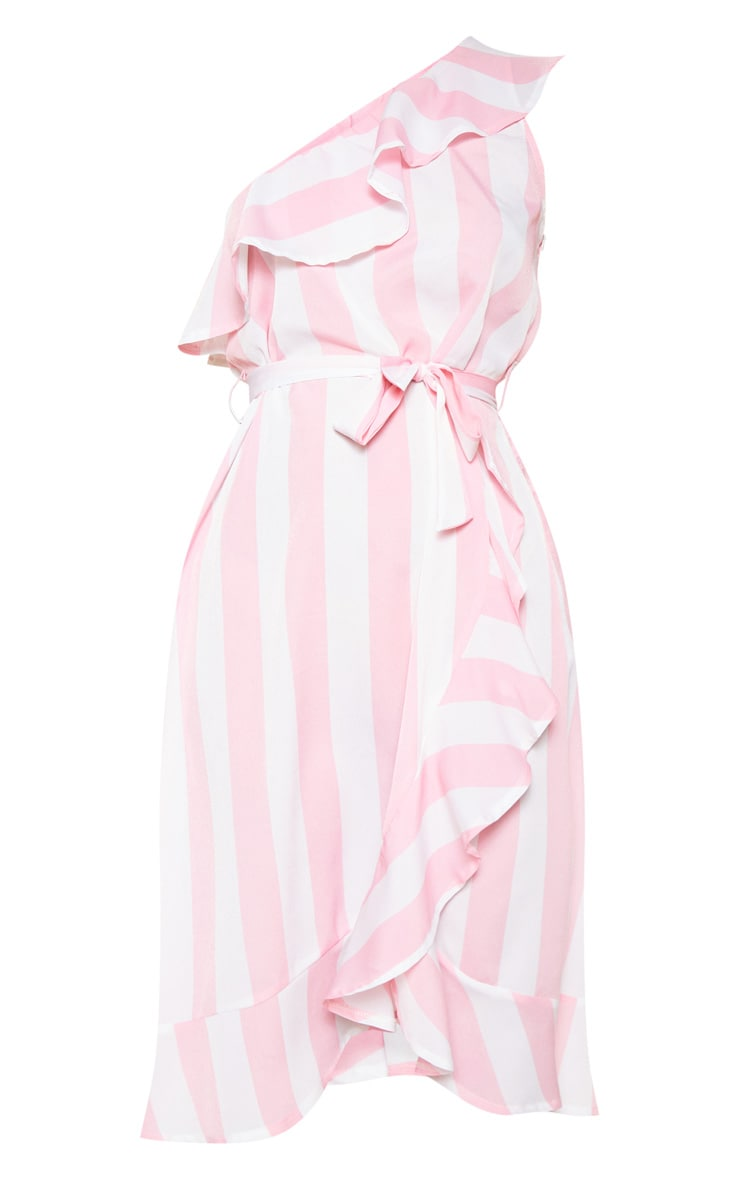 Pink One Shoulder Frill Stripe Midi 3