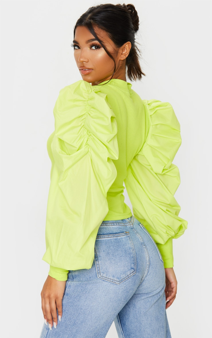 Lime Green Pleated Sleeve Jersey Rib Top 2
