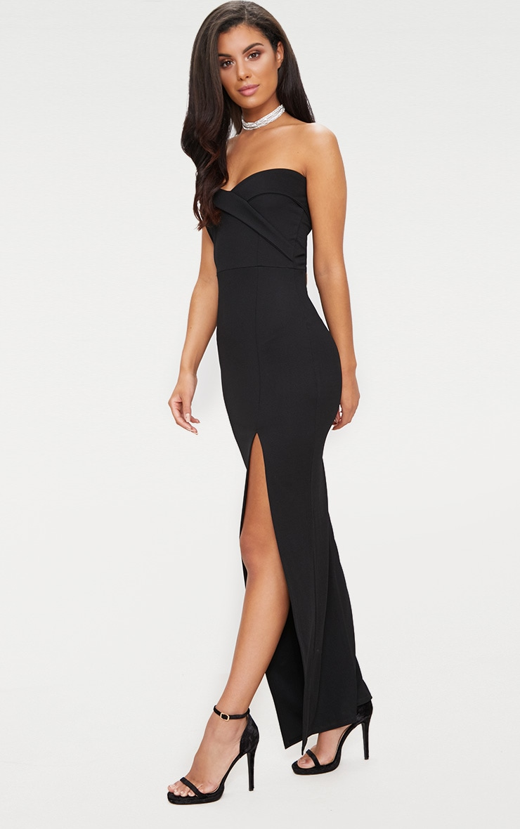 Black Bandeau Folded Detail Extreme Split Maxi Dress  4