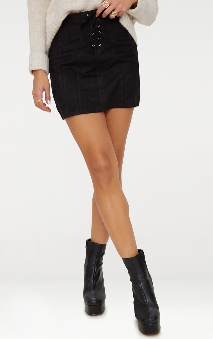 Black Faux Suede Seam Detail Lace Up Mini Skirt 2