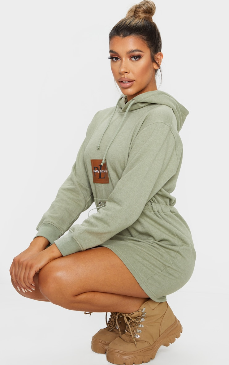 PRETTYLITTLETHING Sage Green Toggle Front Hoodie Sweater Dress 3
