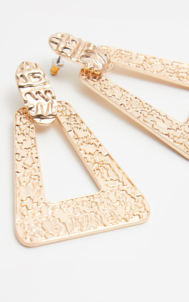 Gold Textured Triangle Drop Door Knocker Earrings 2