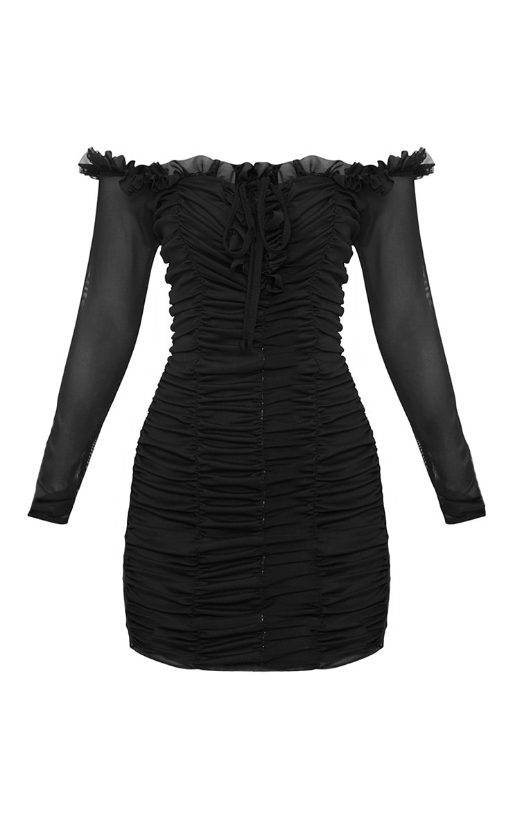 Petite robe moulante bardot froncée noire 3