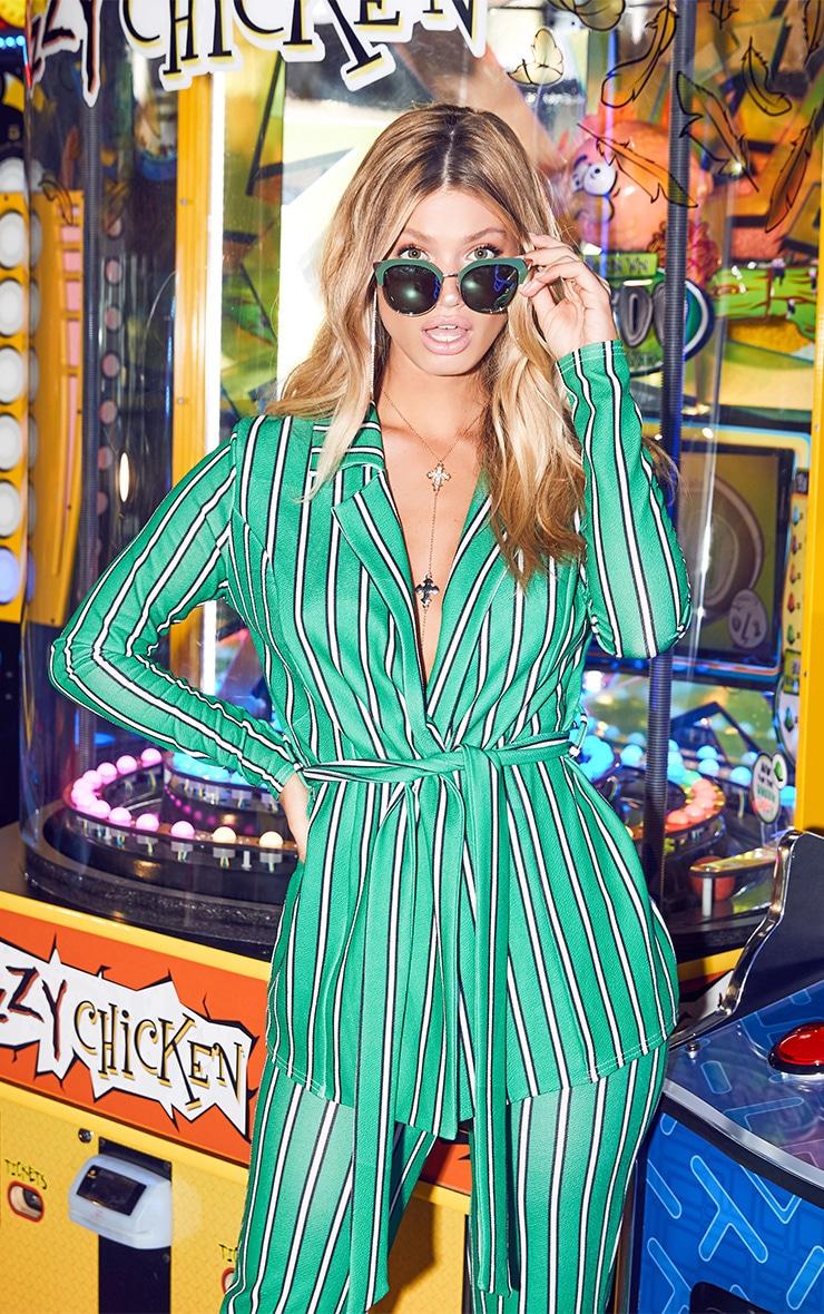 Green Stripe Belted Blazer 1