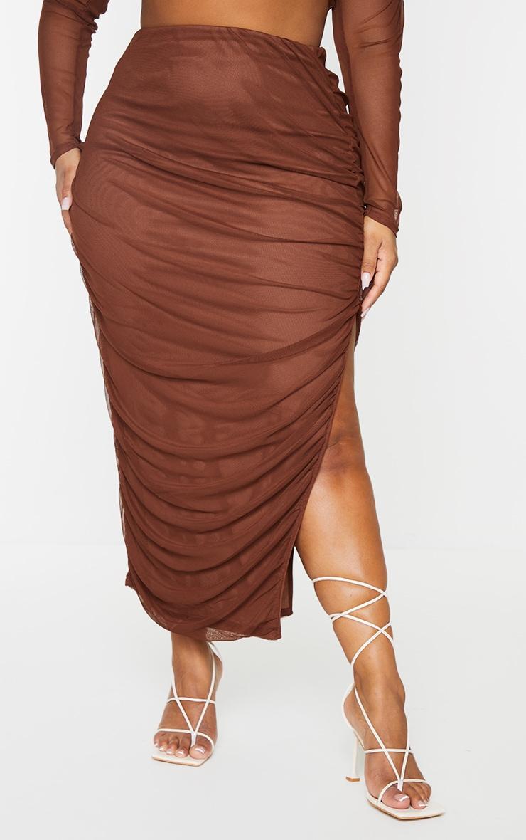 Plus Chocolate Layered Mesh Ruched Split Detail Maxi Skirt 2