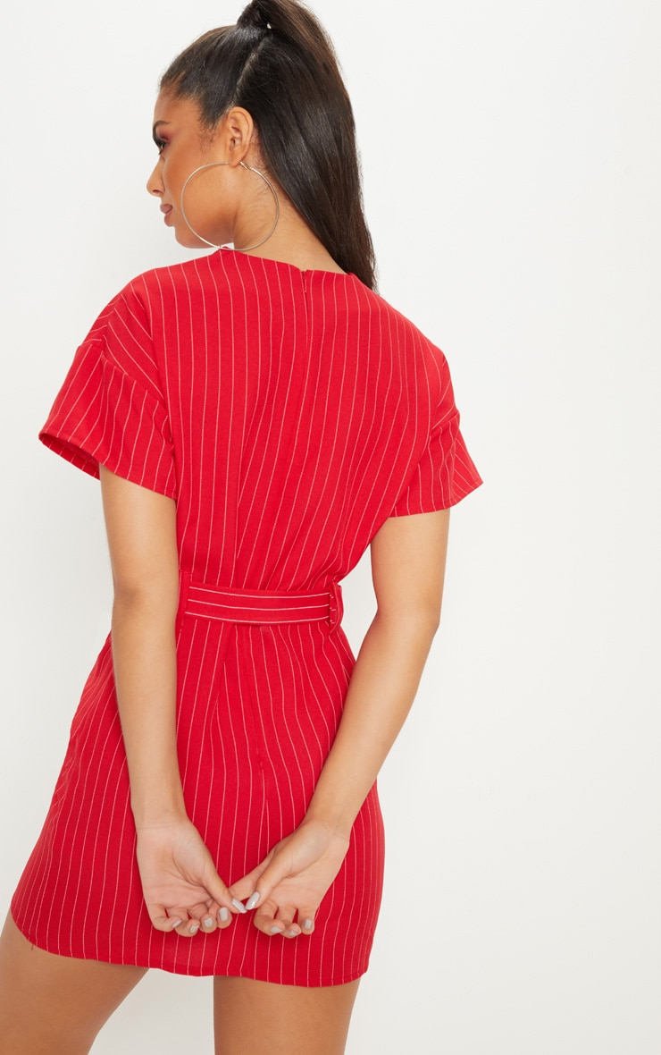 Red Pin Stripe Belt T Shirt Dress 2
