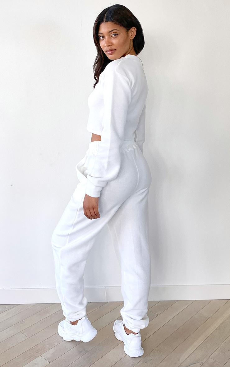 Tall White Cropped Sweat and Jogger Set 2