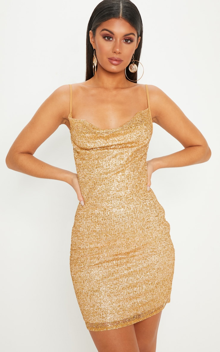 temperament shoes timeless design lovely design Gold Glitter Strappy Cowl Neck Bodycon Dress