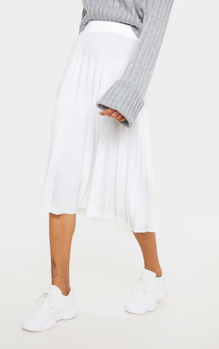Cream Pleated Floaty Midi Skirt 2