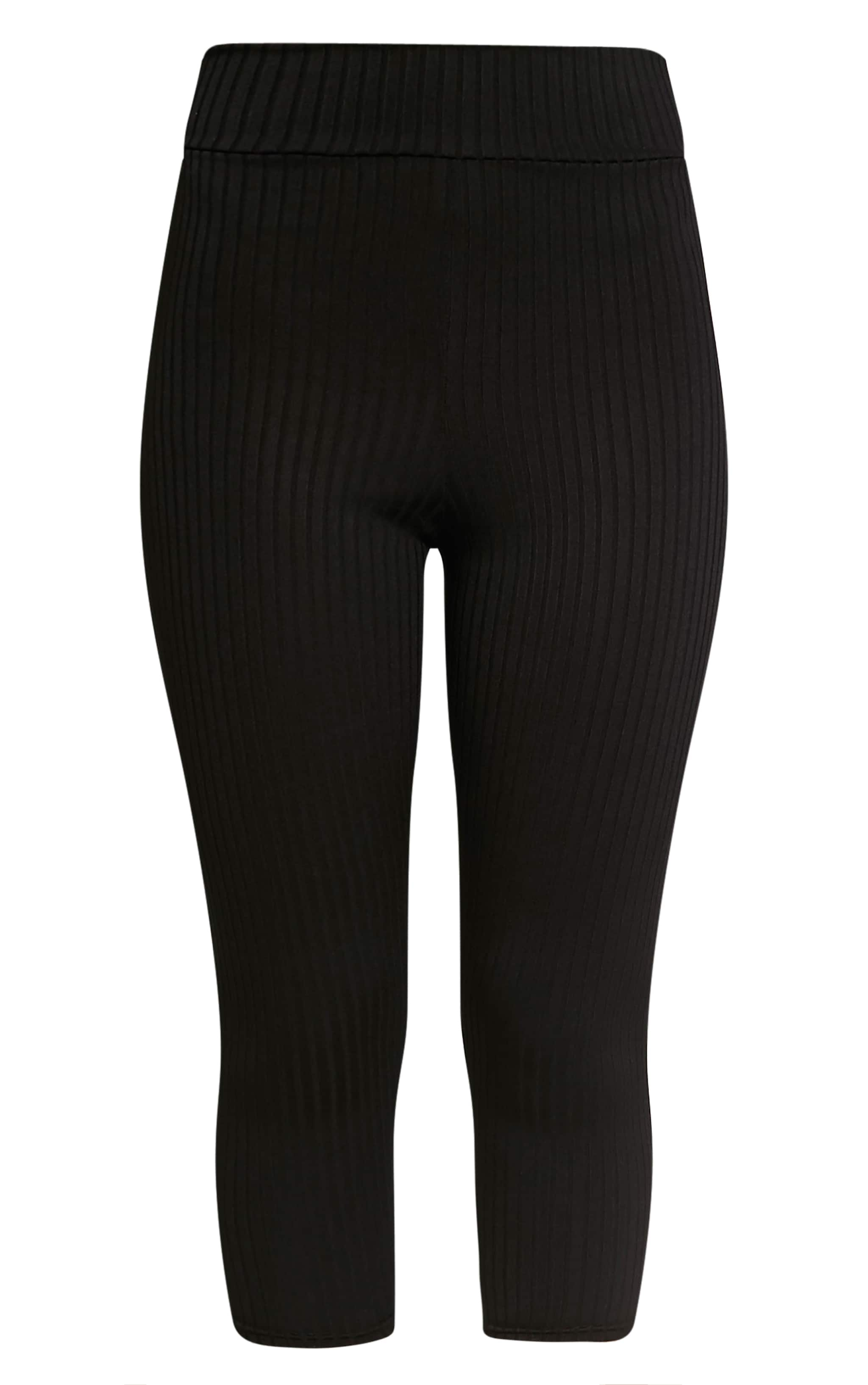 Harlie Black Cropped Ribbed High Waisted Leggings 3